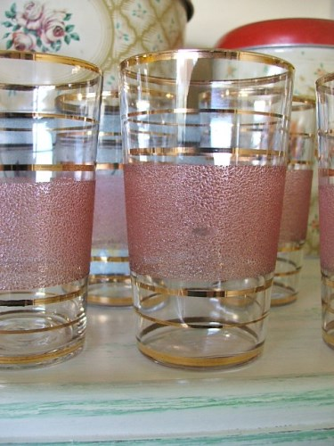 1950's Pink Frosted Glass