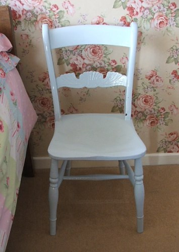 Vintage Pale Blue Painted Wooden Chair