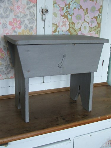 Old Painted Wooden Stool with lid