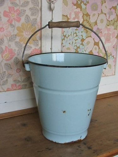 Vintage Pale Blue Enamel Bucket
