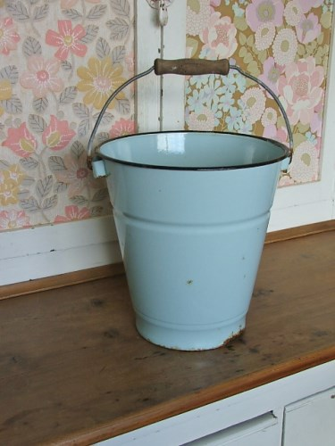 Old Pale Blue Enamel Bucket