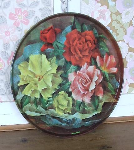 Pretty Vintage Floral Tray