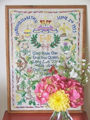 Vintage Framed Coronation Embroidery