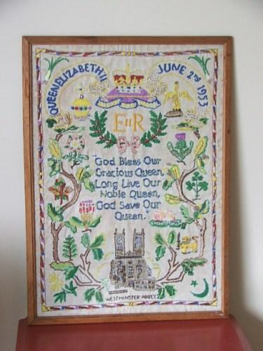 Pretty Vintage Framed 1953 Coronation Embroidery