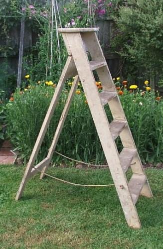 Old worn wooden step ladder