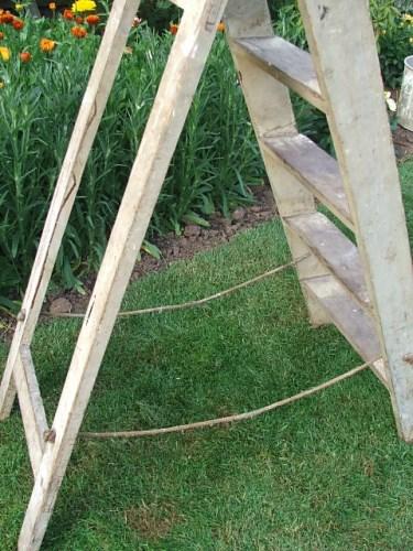 Vintage worn wooden step ladder