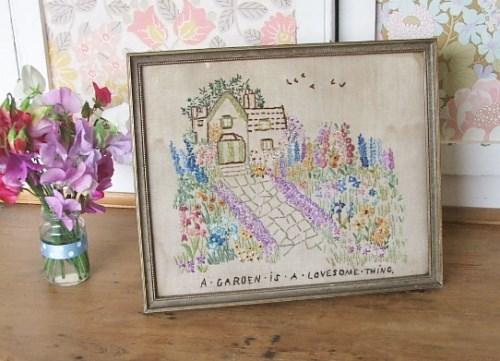 Vintage framed 'Garden' embroidery
