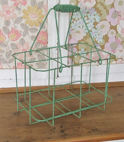 Green French style wire bottle carrier