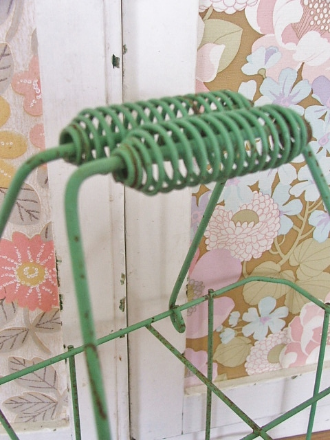 French style green wire bottle carrier