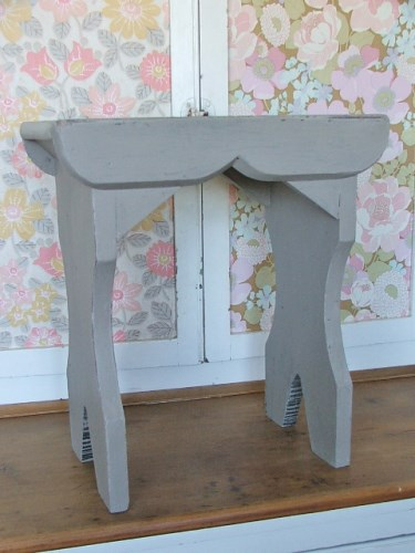 Wooden Stool Painted in French Linen
