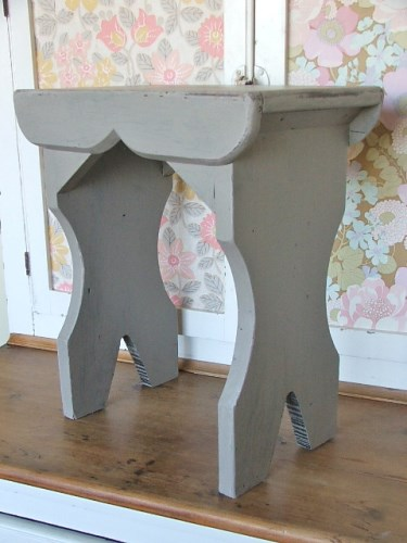 Old Wooden Painted Stool