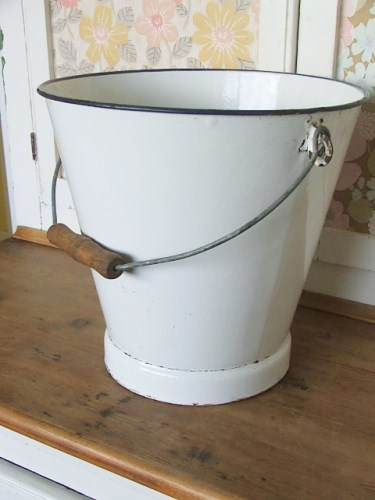 Old Enamel White Bucket