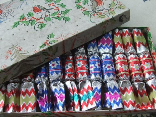 Box of small Christmas Crackers