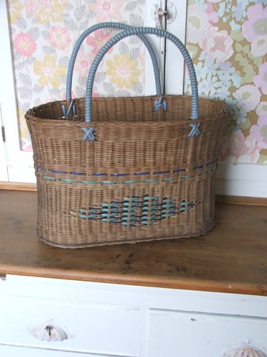 Vintage 1960's Wicker Shopping Basket