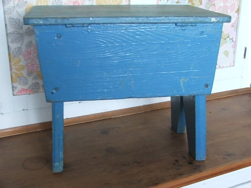 Blue Painted Wooden Stool