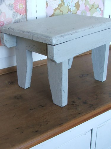 Small Grey Painted Wooden Stool