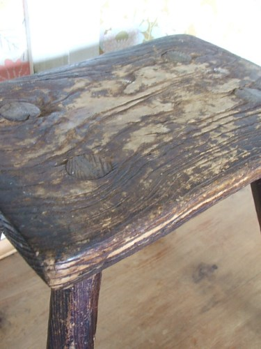 Small old wooden stool