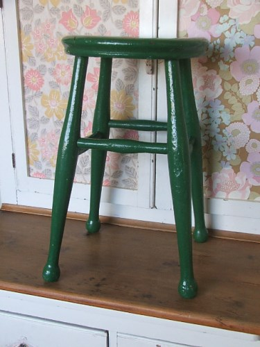 Old Green Painted Stool