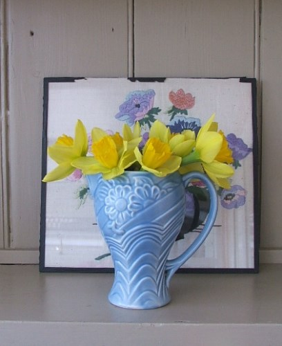 Pale Blue 1930's Pottery Jug
