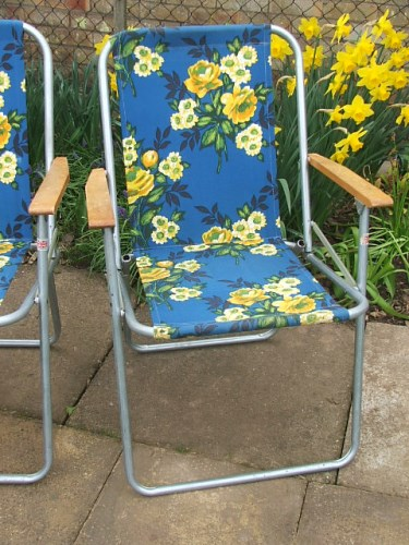 Blue and yellow floral covered deckchair