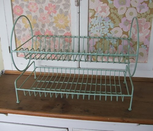 Retro 1950's Pale Green Plate Rack