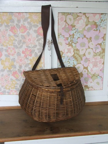 Gorgeous Vintage Wicker Fishing Crewel