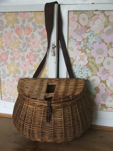 Vintage Fishing Crewel Basket