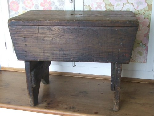 Large Old Wooden Stool
