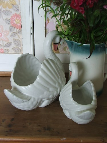 Pair of Dartmouth Pottery Swan Vases