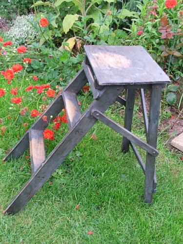 Vintage Painted Wooden Step Stool
