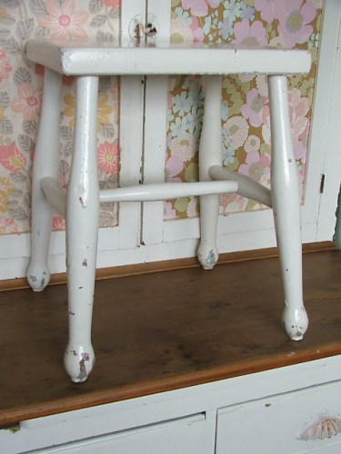 Old Wooden Stool with chippy paintwork