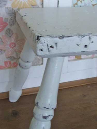 Old Worn Painted Wooden Stool