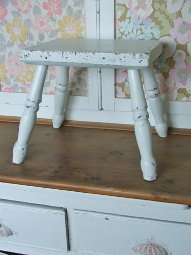 Vintage White Painted Wooden Stool