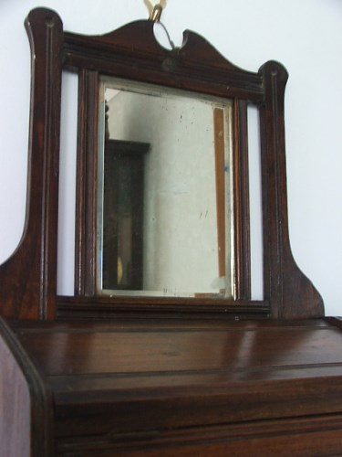 Antique Mirror Hooks and Shelf