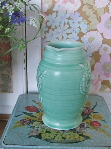 Vintage Green Pottery Jug