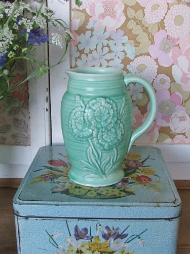 Vintage Pottery Green Jug