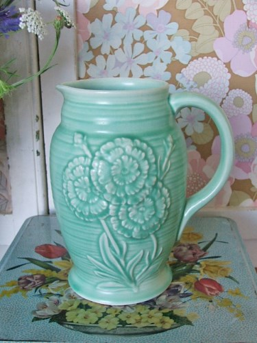 Green Pottery Jug with floral detail