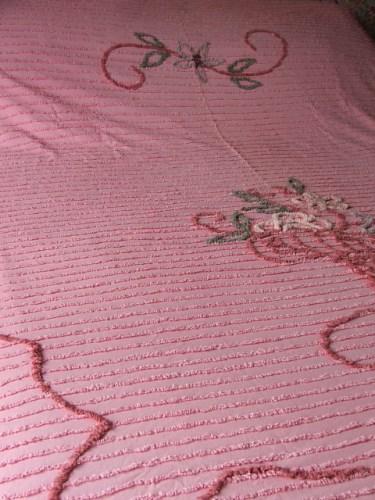 Vintage Pink Candlewick Bedspread