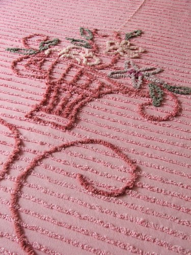 Pretty Pink Bedspread with Floral Detail