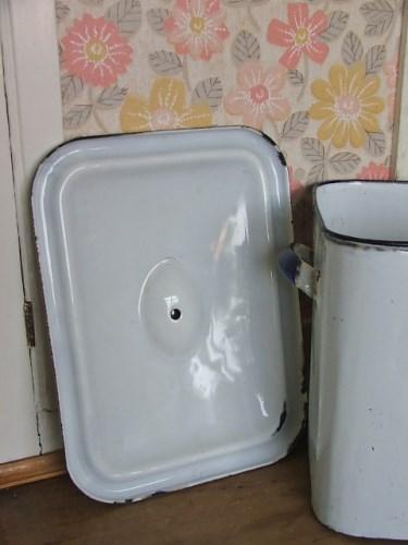 Vintage White Enamel Bread Bin