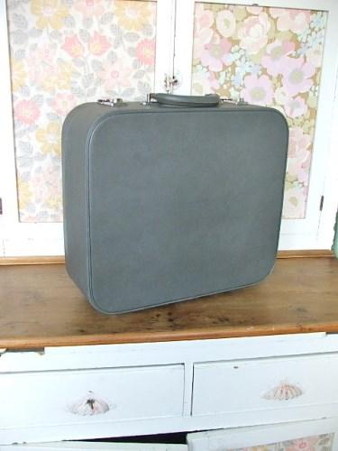 Small Vintage Grey Suitcase