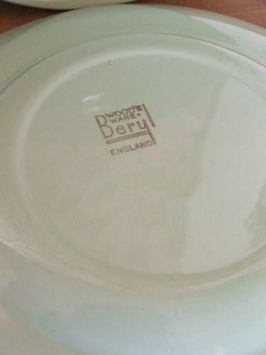 Six Green Beryl Dinner Plates