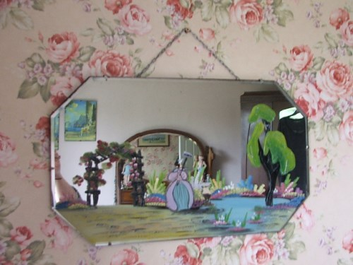 Pretty Crinoline Lady Painted Mirror