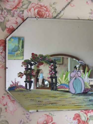 Vintage Crinoline Lady Painted Mirror