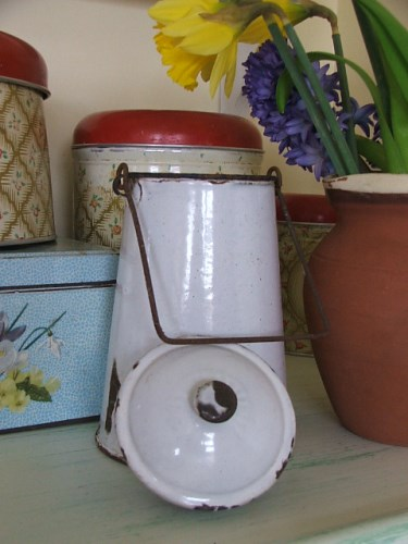 Old french Enamel Milk Can