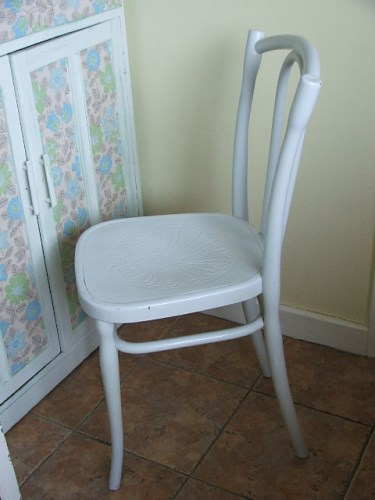 Wooden Bentwood Chair with chippy paintwork