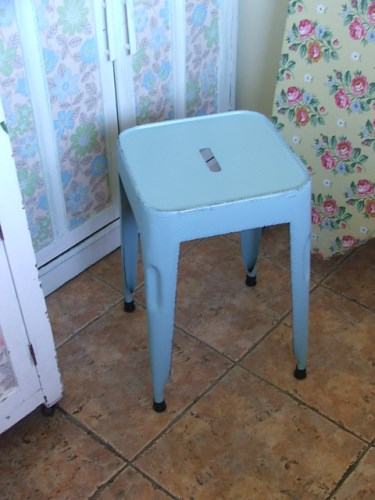Vintage or Retro Blue Metal Stool