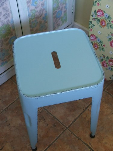 Pale Blue Metal Stool