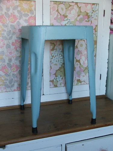 Retro Blue Metal Stool