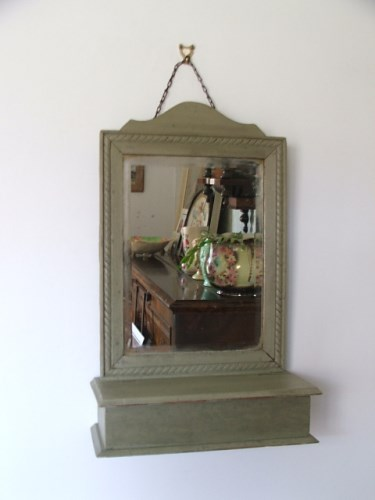 Old Painted Wooden Wall Mirror
